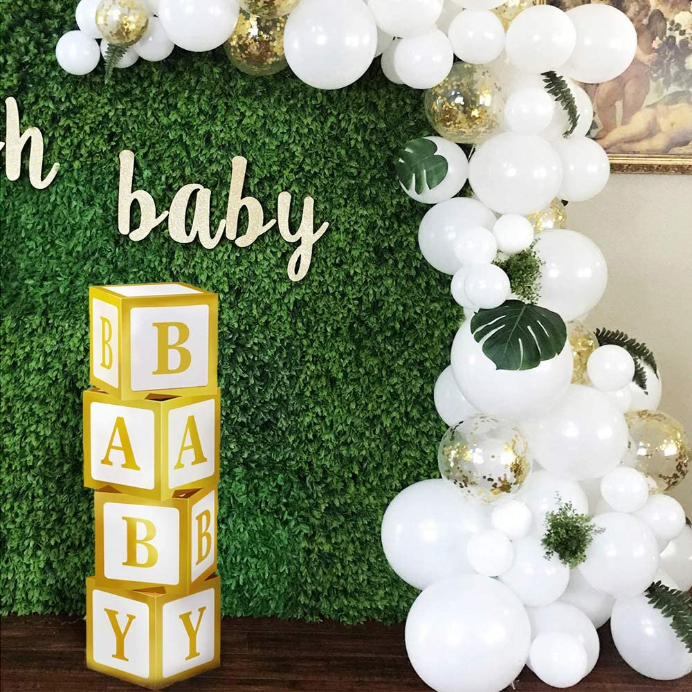 Baby Shower Decorations, DIY Gold Baby Shower Boxes for Boy Girl Baby Shower Decor, Baby Blocks Decorations for Baby Shower, Gender Reveal Party Supplies, 1st Birthday