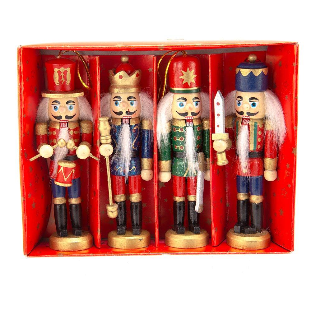 Amazon.com: Kurt Adler Wooden Nutcracker Ornament 4-Piece Box Set, 5 ...