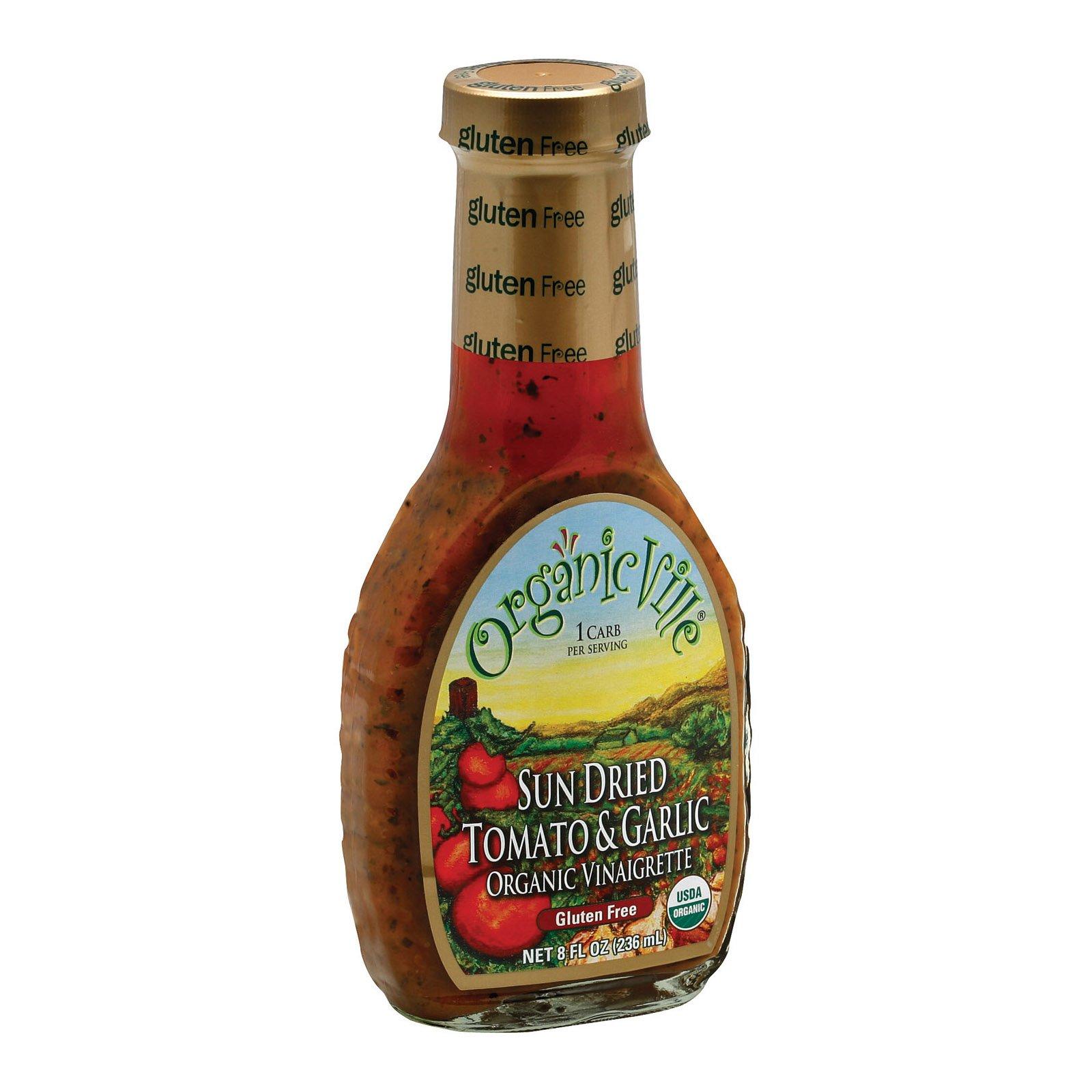 Organic Ville Sun Dried Organic Vinaigrette - Tomato and Garlic - Case of 6-8 Fl oz.