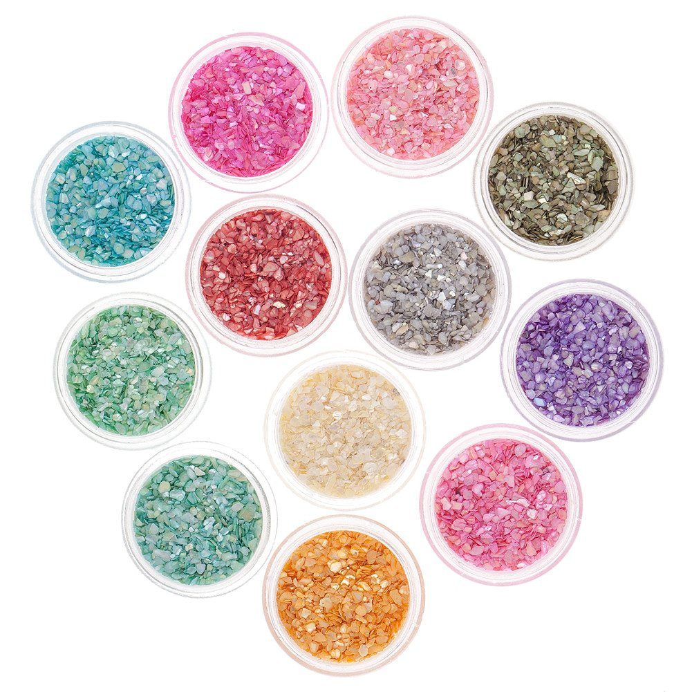 Great Value Set of 12 Containers With Crushed Shells Powders Dusts Manicure Nail Art Decorations By VAGA