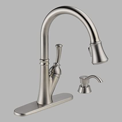 Delta 19949-SSSD-DST Savile Single Handle Pull-Down Kitchen Faucet with  Soap Dispenser, Stainless