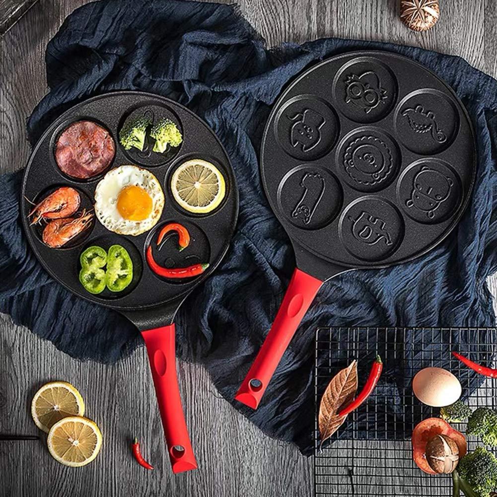 Baking molds,longdelaY6 7-Grid Smiley Face Animal Pancake Pan Emoji Breakfast Aluminum Nonstick Maker - Black Red A by longdelaY6 (Image #3)