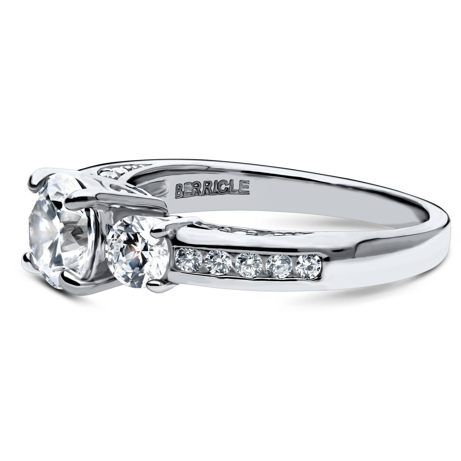 BERRICLE Rhodium Plated Sterling Silver Round Cubic Zirconia CZ 3-Stone Anniversary Promise Engagement Ring 1.73 CTW