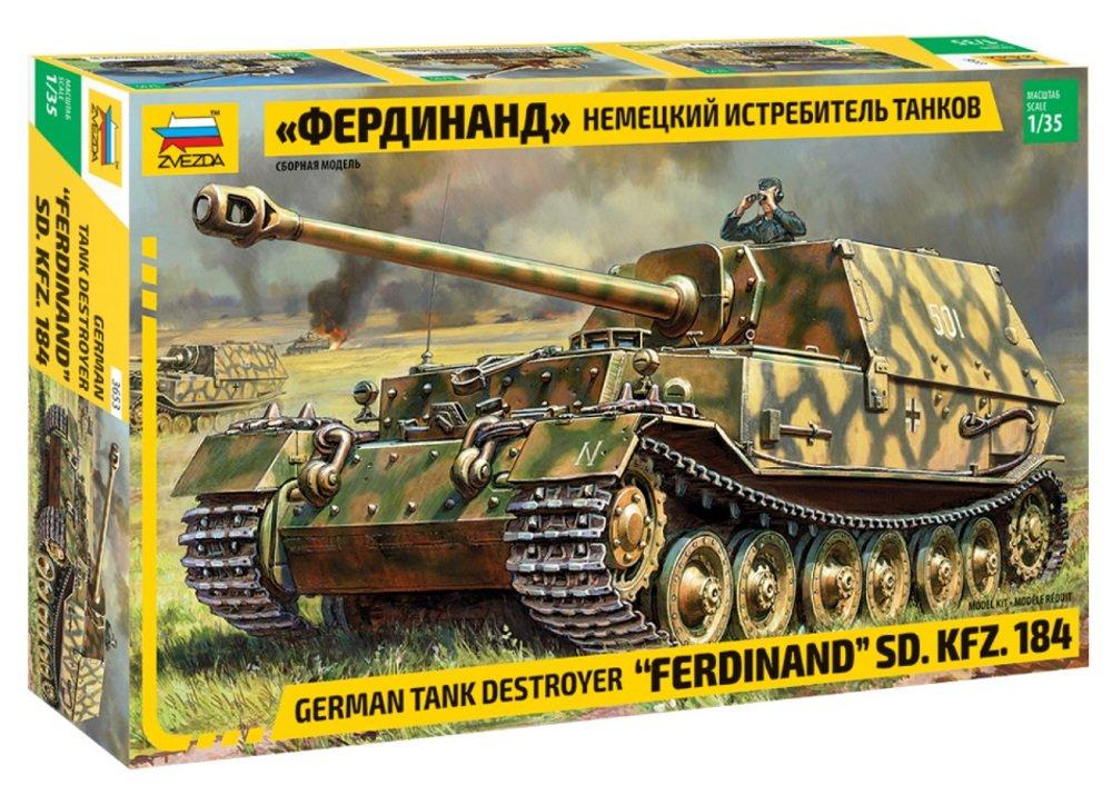 ZVEZDA 3653 - German Tank Destroyer FERDINAND Sd.Kfz.184 - Plastic Model Kit Scale 1/35 292 Parts Lenght 9.1'' / 23 cm