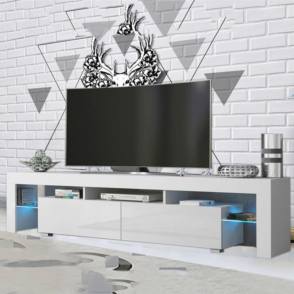MAKPON - Mueble de TV (200 cm, luz Brillante), Color Blanco ...