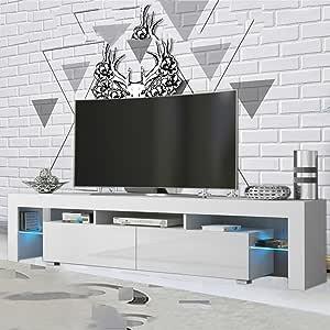 MAKPON - Mueble de TV (200 cm, luz Brillante), Color Blanco: Amazon.es: Electrónica