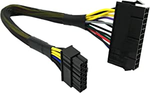 COMeap 24 Pin to 14 Pin ATX PSU Main Power Adapter Braided Sleeved Cable for IBM Lenovo PCs and Servers 12-inch(30cm)
