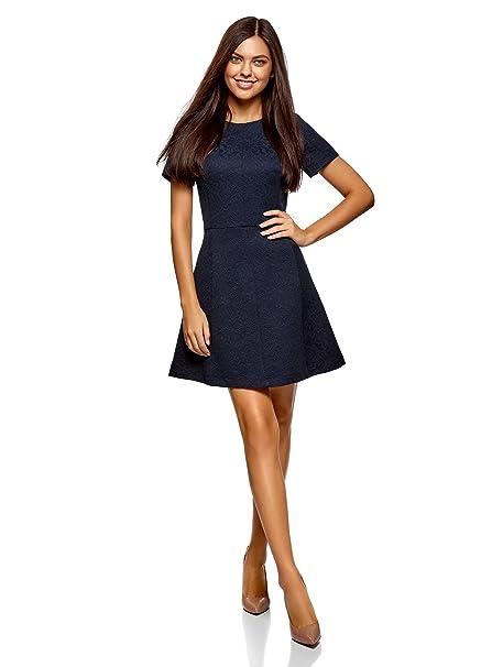0f460650d89f oodji Ultra Donna Abito in Jacquard con Maniche Corte  Amazon.it   Abbigliamento
