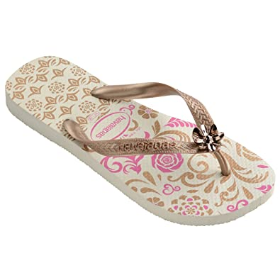 99b56b6352de5d Havaianas Womens Caprice Lightweight Beach Holiday Sandals Flip Flops -  White Rose Gold Rose