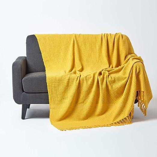 HOMESCAPES Funda de sofá Unicolor, 100% algodón, Color Amarillo Mostaza de la colección Nirvana 150 x 200 cm