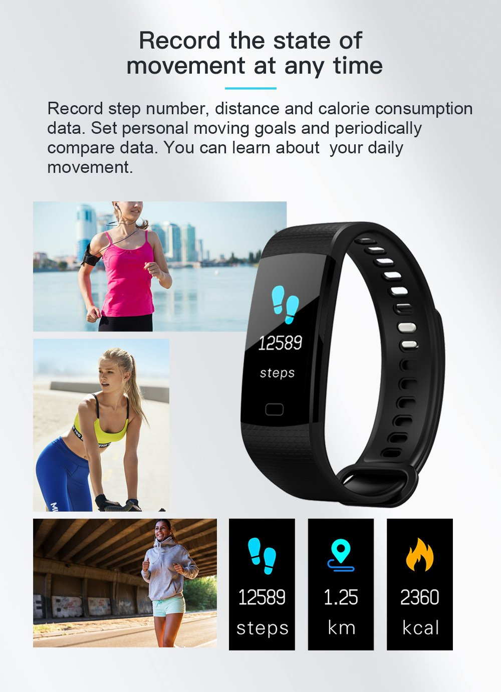 Fitness Tracker Activity Tracker Watch with Heart Rate Monitor, IP67 Waterproof Smart Bracelet with Calorie Counter Pedometer Watch for Android and iOS … ……