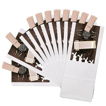 25 bolsa de regalo blancas con pergamino Einlage con madera ...