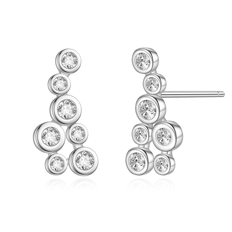 925 Sterling Silver Cubic Zirconia Cluster Stud Earrings for Women
