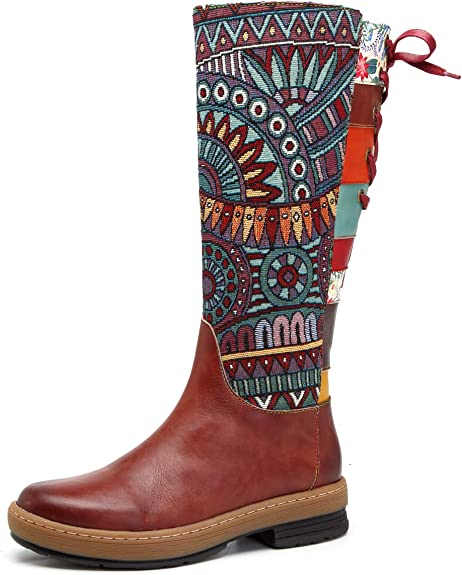unyielding1 Girls Knee High Leather Winter Boots Warm Cotton Toddler Boots Western Boots