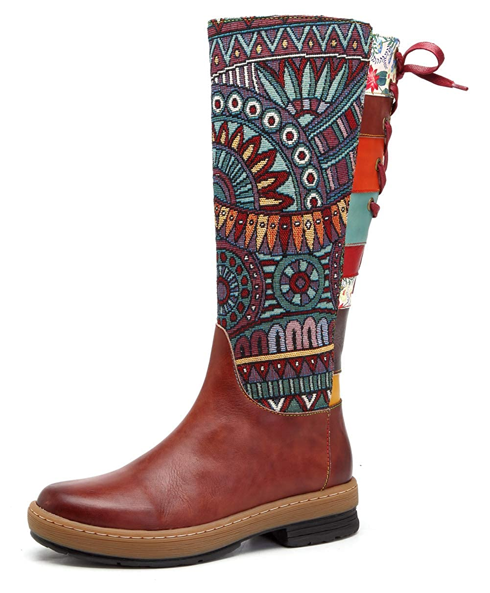 Honeystore Women's Retro Carving Pattern Leather Knee High Boots Shoes Round Toe Boot Zipper HSO1808B3