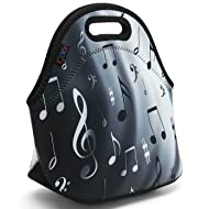 iColor Neoprene Lunch Bag Kids Thermal Lunch Tote Bag Lunch Box & Food Container Insulated Soft Lunchbox Food Storage Cooler - Great Gift for Boys,Girls (Music Notes) HST-LB-068