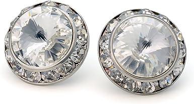 PammyJ Clear 20mm Crystal Framed Post Earrings