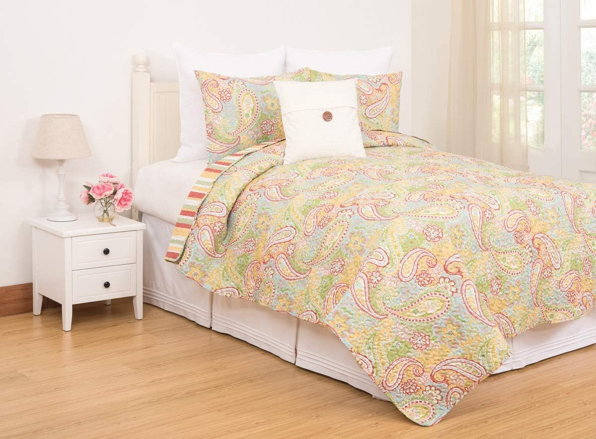C&F Home Kaylee Cute Fun Whimsical Pink Paisley Twin 2 Piece Reversible Machine Washable Quilt Coverlet Set Twin 2 Piece Set Yellow