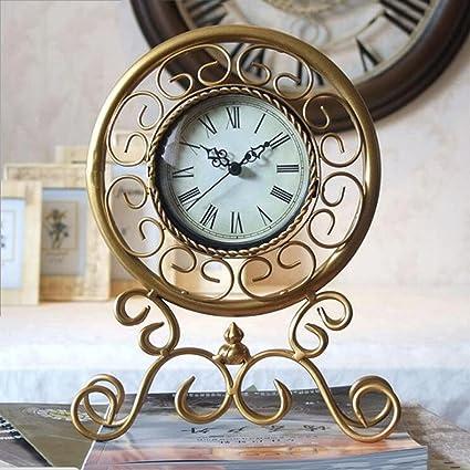 Reloj de oro europeo palacio hierro sala de estar muebles de dormitorio reloj de cabecera