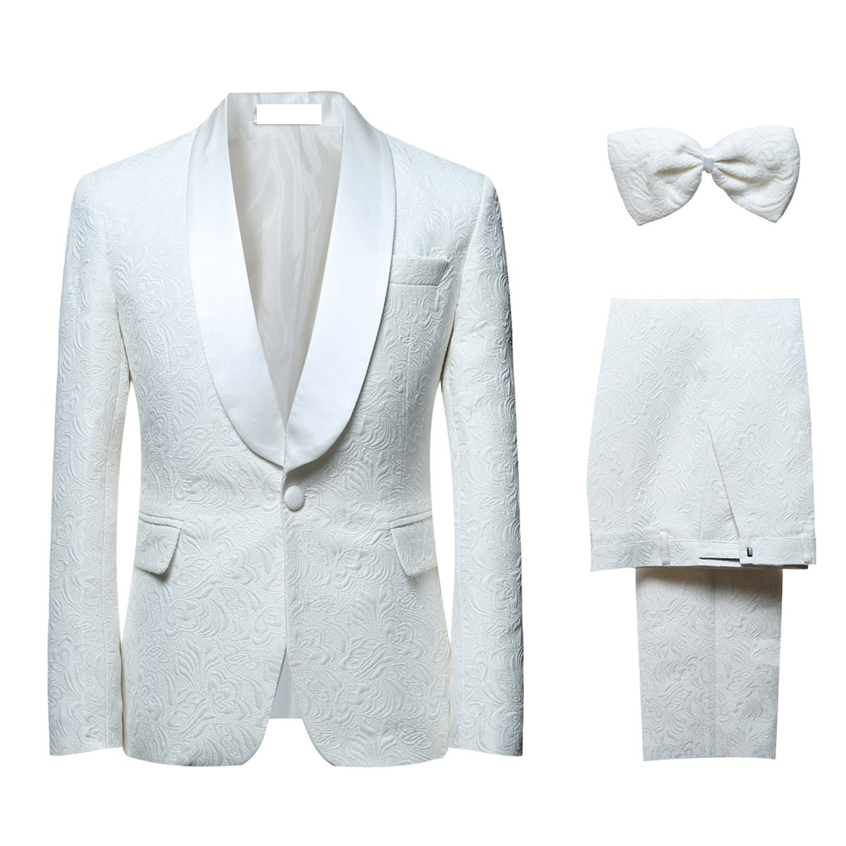 YOUTHUP Men Dinner Suit Jaquard 2 Piece 1 Button Shawl Lapel Slim Fit Tux Tuxedo Jacket and Trousers Big Size EH6047