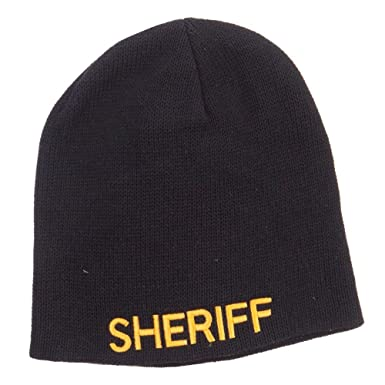 c815b53c6ca Amazon.com  E4hats XL Size Sheriff Embroidered Cotton Beanie - Black OSFM   Clothing