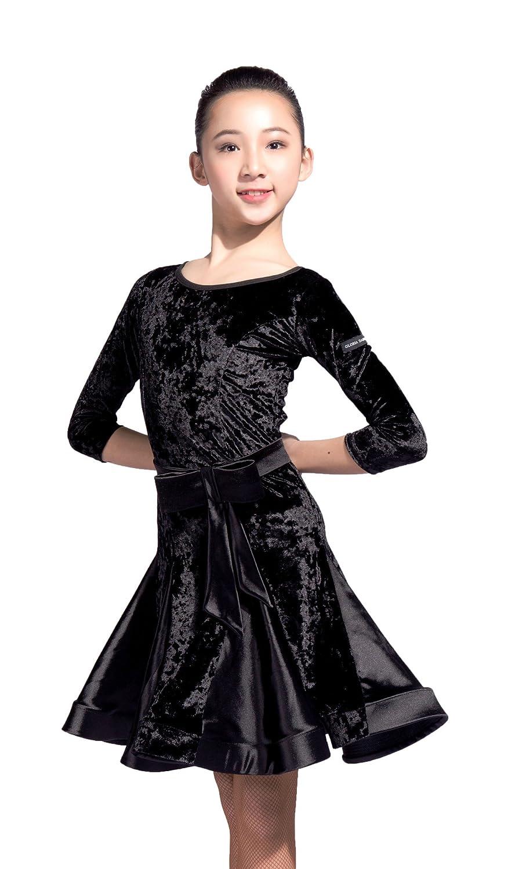 【超お買い得!】 GD3101 女の子(子供) B07BD51GMQ 専門通用のされるラテンダンス 社交ダンス 少年(女子学生) ワンピース ドレス (ベルベットとサテンステッチデザイン) B07BD51GMQ ドレス GD3101 150|(FBA)black (FBA)black 150, 三方郡:db294197 --- a0267596.xsph.ru