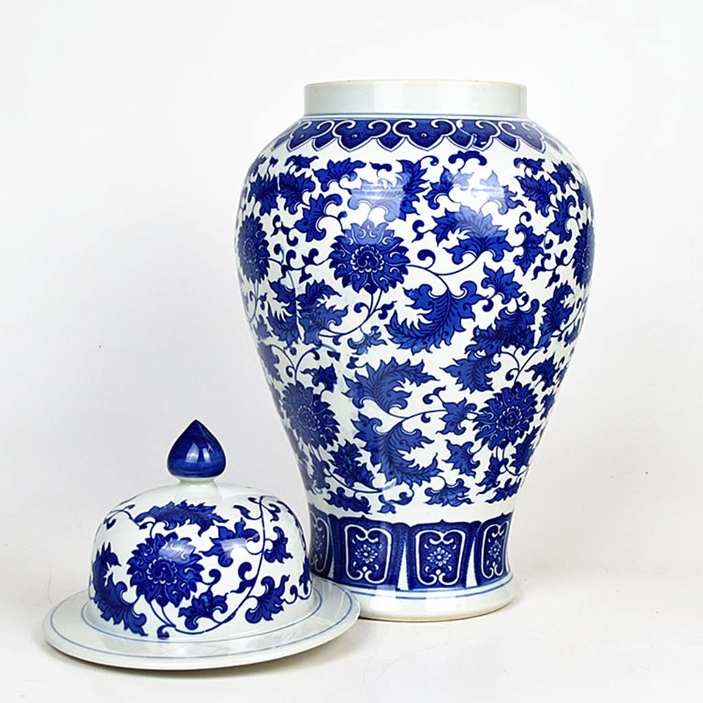 Amazon Com Peaceipus Ceramic Antique Blue And White Canister Candy Jar Living Room Decoration Home Accessories Kitchen