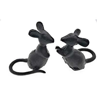 Miller Horticultural Cast Iron Mice Figurines Set of 2, 3.75 Inches Tall : Garden & Outdoor
