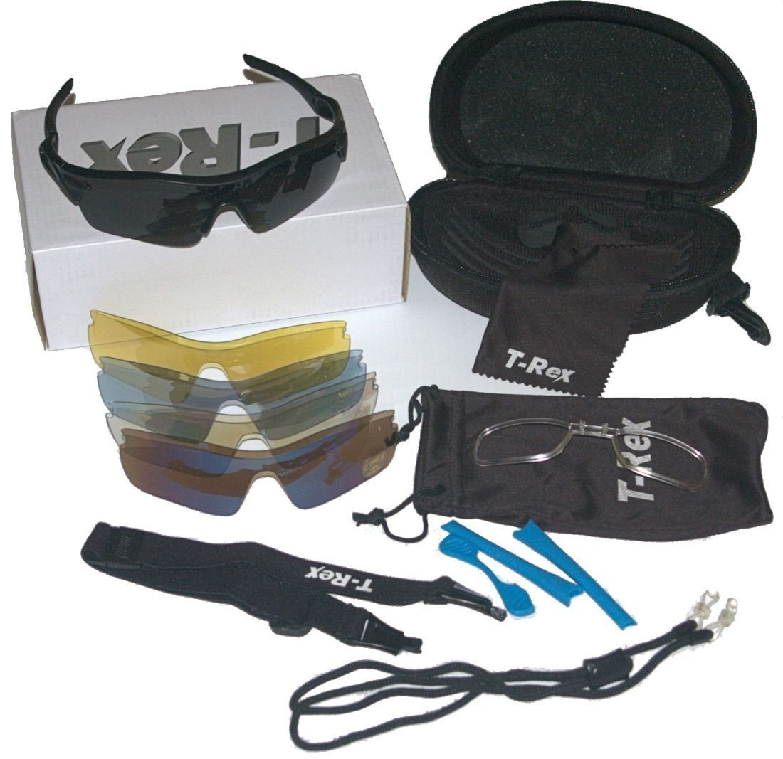 T-Rex Sport Style Sunglasses Kit: 5 Lens. UV400 with Polarized Lens, Optical Insert. by T-Rex