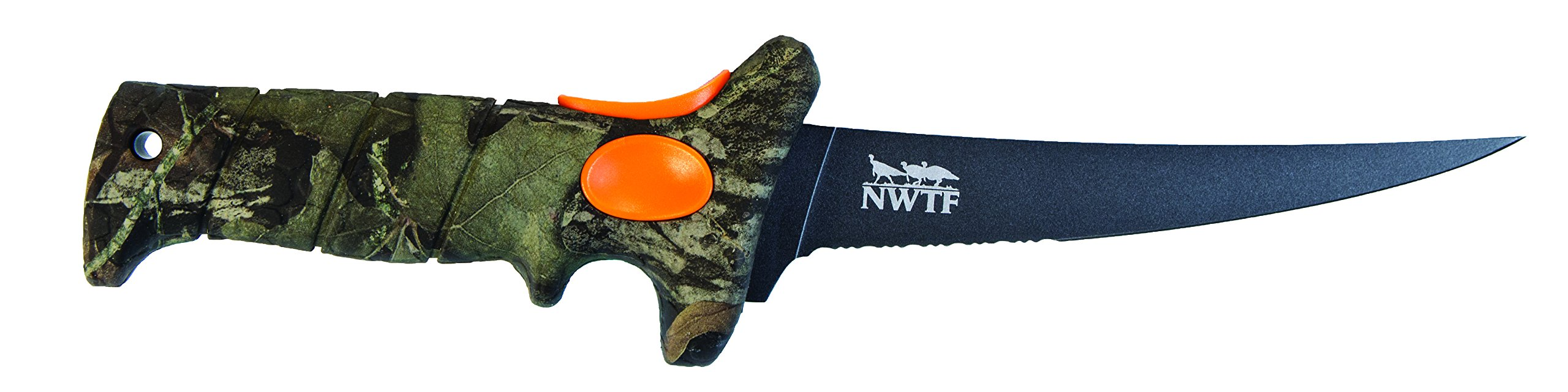 Bubba Blade 6 Inch Turkinator Hunting Knife with Mossy Oak Obsession Pattern, Non-Slip Grip Handle, Full Tang High-Carbon Non-Stick Stainless Steel Serrated Blade, Lanyard Hole and Sheath for Outdoors