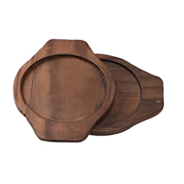 Koreartstory Eco Wood Trivets (Set of 2) with handles on both sides for Withstanding High Temperatures. Safe Heat Resistant Trivet Mat for Hot Pots and Bowls-Light Weight and Strong Durable