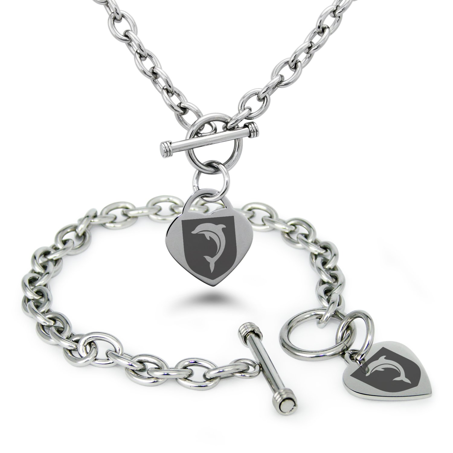 Tioneer Stainless Steel Dolphin Diligence Coat of Arms Shield Symbols Heart Charm, Bracelet & Necklace Set