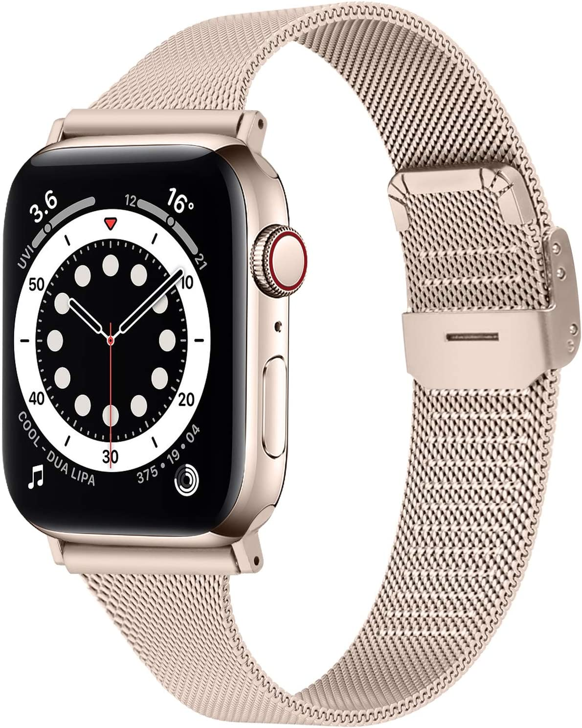 OULUCCI Slim Bands Compatible with Apple Watch Band 38mm 40mm 42mm 44mm, Adjustable Metal Mesh Replacement Starp for iWatch Series 6/SE/5/4/3/2/1 Women Men