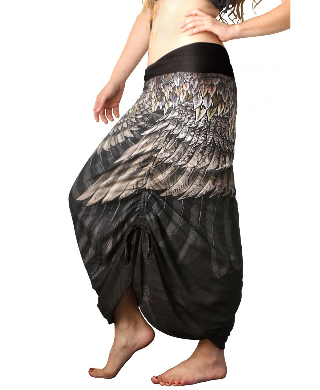 Shovava Brown & Black Hand Painted & Printed Long Feather Hippies Summer Beach Skirt by Shovava (Image #3)
