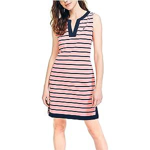 Nautica Womens Breton Stripes Sleeveless V-Neck Stretch Cotton Polo Dress