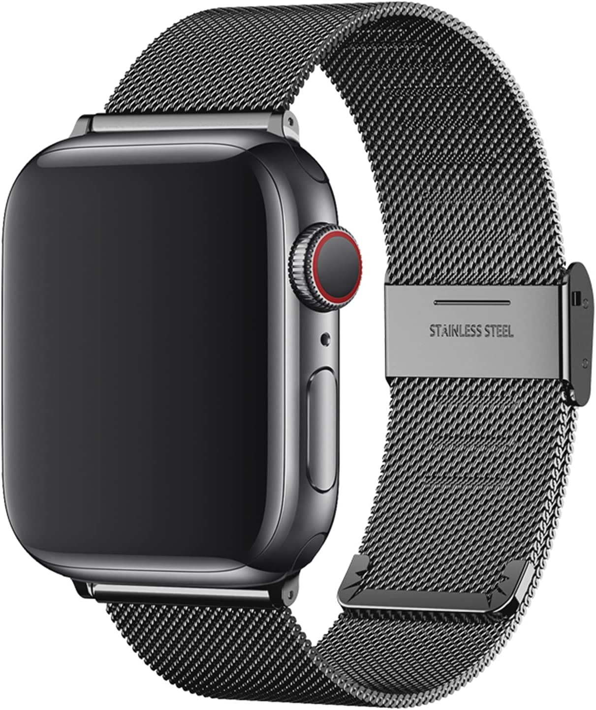 Replacement Bands Compatible with Apple Watch 44mm 42mm 40mm 38mm, Stainless Steel Watch Band for iWatch 6 SE 5 4 3 2 1 (44mm/42mm, Black)