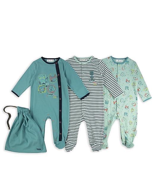 The Essential One Bebé niños - Personajes Animales Pijamas - Paquete de 3 - Azul/