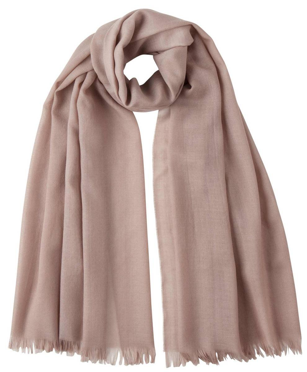 Powder Beige Extra Fine Wide Scarf by Johnstons of Elgin