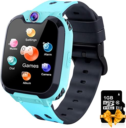 Kids Smartwatch with Phone Call 7 Games 1GB Card MP3 Music Player Camera SOS Calculator Alarm Clock for Children Boys Girls Students 4-12 Years Old