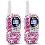 QNIGLO Walkie Talkies for Kids Two-Way Radio Long Range 22 Channels Mini Walkie Talkies Outdoor Camping Toys Gifts for Boys Girls (Camouflage Pink)