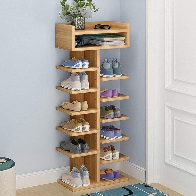 Ranura de calzado ajustable Organizador de zapatos Estante de zapatos Entrada independiente Zapato de zapatos Tallador de zapatos Multi-capa de grano de madera, Almacenamiento de doble fila, Diseño mu