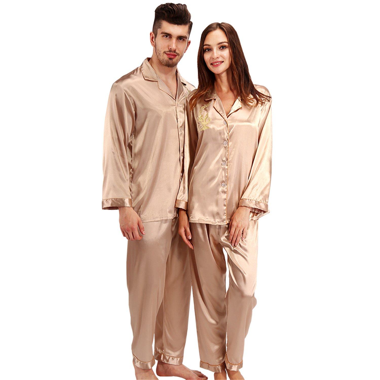 Dormery Silk Pajamas Women Long Sleeve Solid Satin Pyjamas Men Love Sleepwear Womans Lounge Couples Pajama Sets Pijama Mujer at Amazon Womens Clothing ...