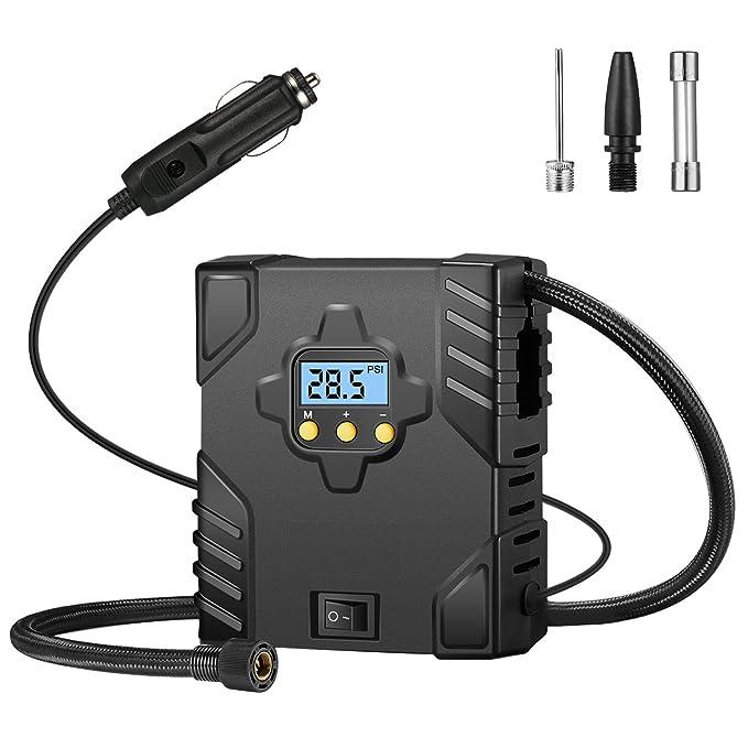 OMorc Pompe de Compresseur d'air Portable 12V Dc, Fonction Prédéfinie et Auto-arrêt, avec Affichage Numérique de la Pression de Pneu, Lumière LED, 2 Adaptateurs Supplémentaires pour le