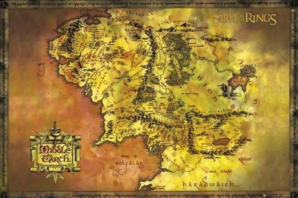 Amazoncom The Hobbit Journey Map Movie Poster