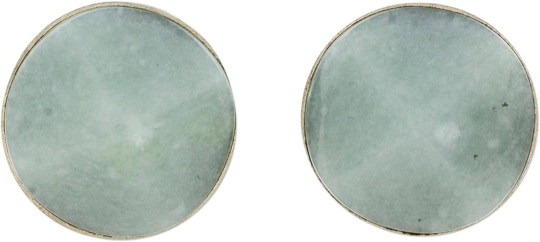 NOVICA Jade .925 Sterling Silver Stud Earrings, Apple Green Faceted Circles'