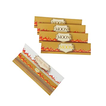 MOON King Size Economic and High Quality Rice Paper Rolling Cigarette Paper  (5 Booklet of 108mm)