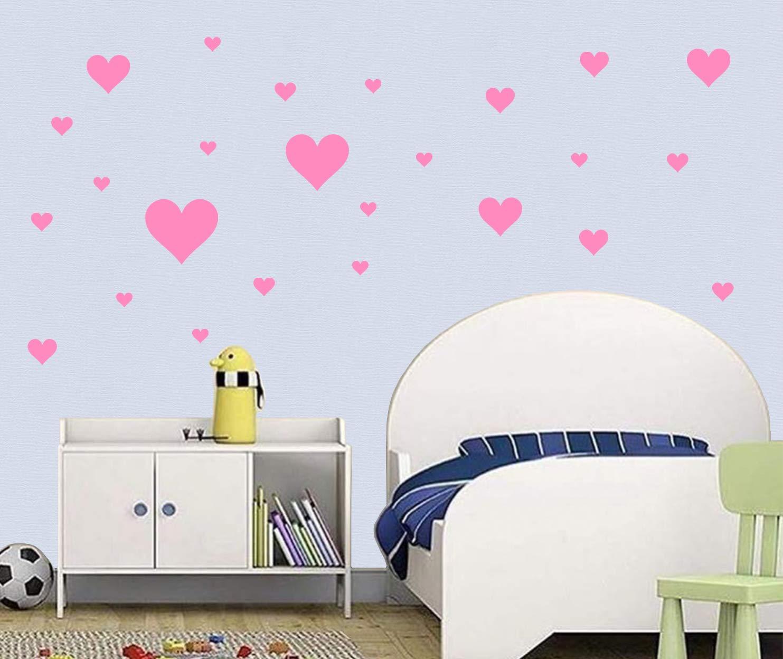 Premyo 25er Set Herzen Wandsticker Kinderzimmer Wandtattoo Wand Deko Stilvoll Einfaches Anbringen Selbstklebend Raufaser Tapete Geeignet Rosa Baby Wanddekoration