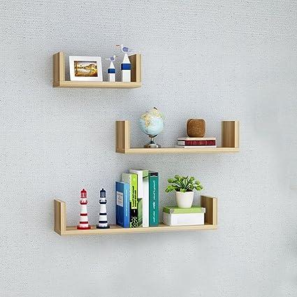 Wall Shelf 3 Light Walnut Maple Floating Shelves U Bookshelf Toy Storage Display