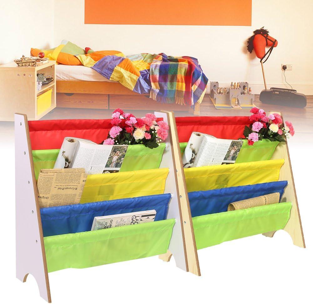 Libreria Bambini Scaffale,5 Ripiani Mensola in Legno,Children Principesse Scaffale Portariviste,Libreria in Legno e Tessuto,68*28*60cm bianco