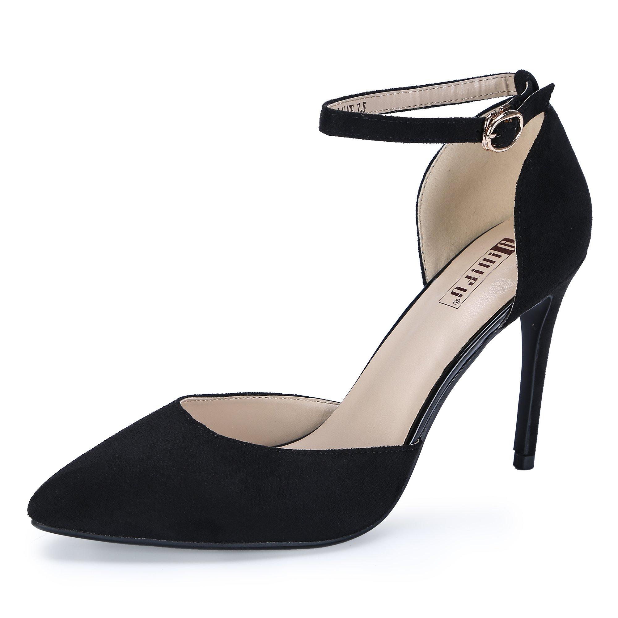 IDIFU Women's IN4 D'Orsay Alice Stiletto High Heel Ankle Strap Bridal Pump (Black Suede, 8 B(M) US)